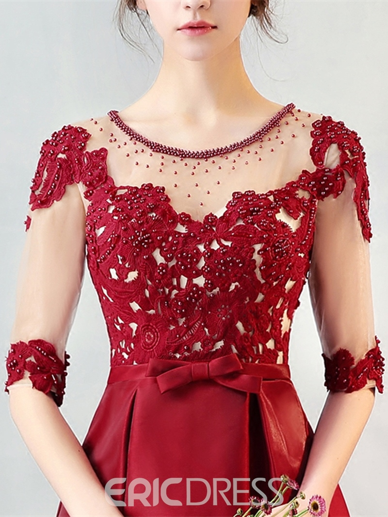 Ericdress A Line Half Sleeve Applique Beaded Short Homecoming Dress