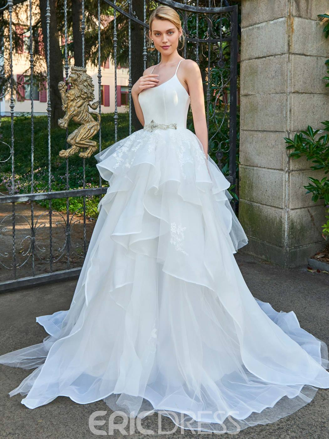 Ericdress Spaghetti Straps Ball Gown Beaded Wedding Dress