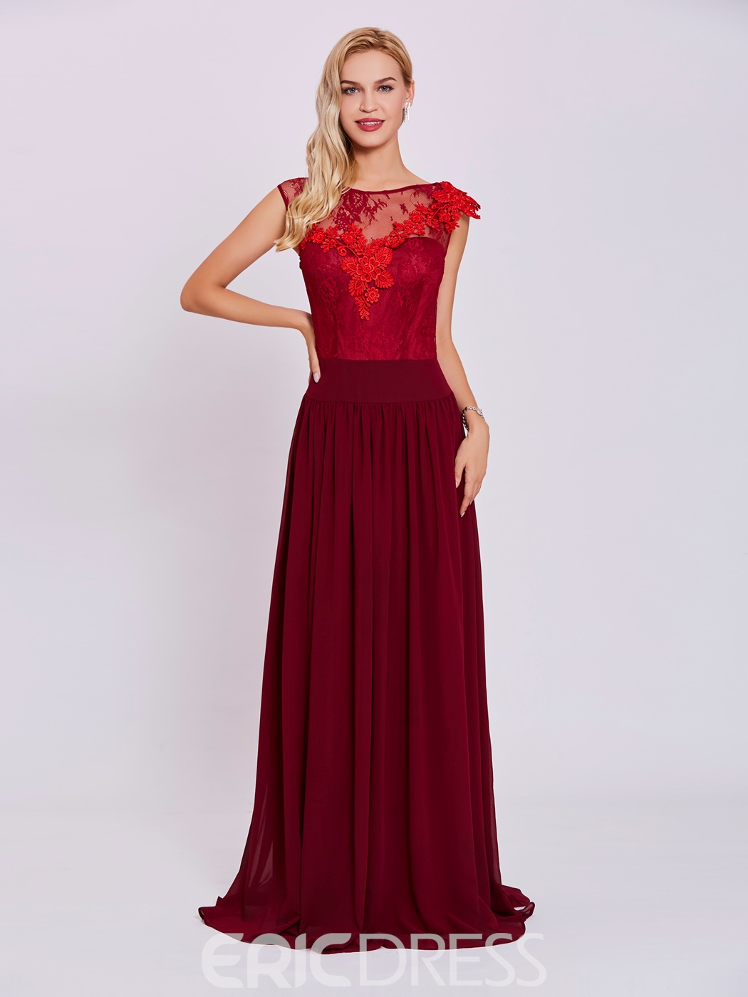 Ericdress Scoop Neck Zipper-Up Appliques A Line Evening Dress