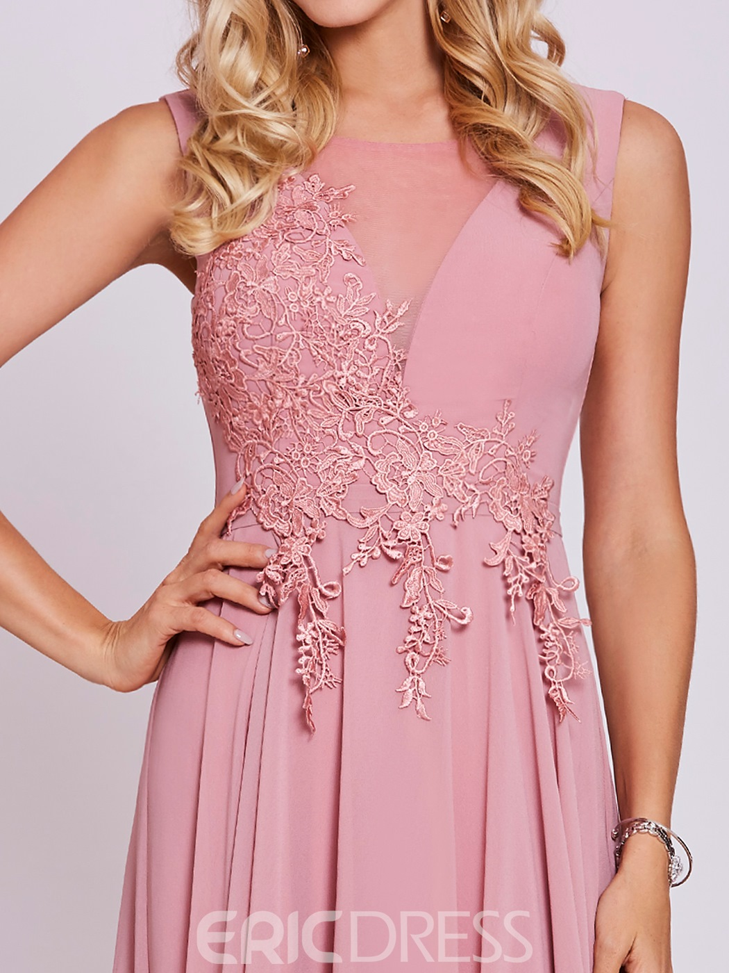 Ericdress Scoop Neck Lace-Up Appliques A Line Party Dress
