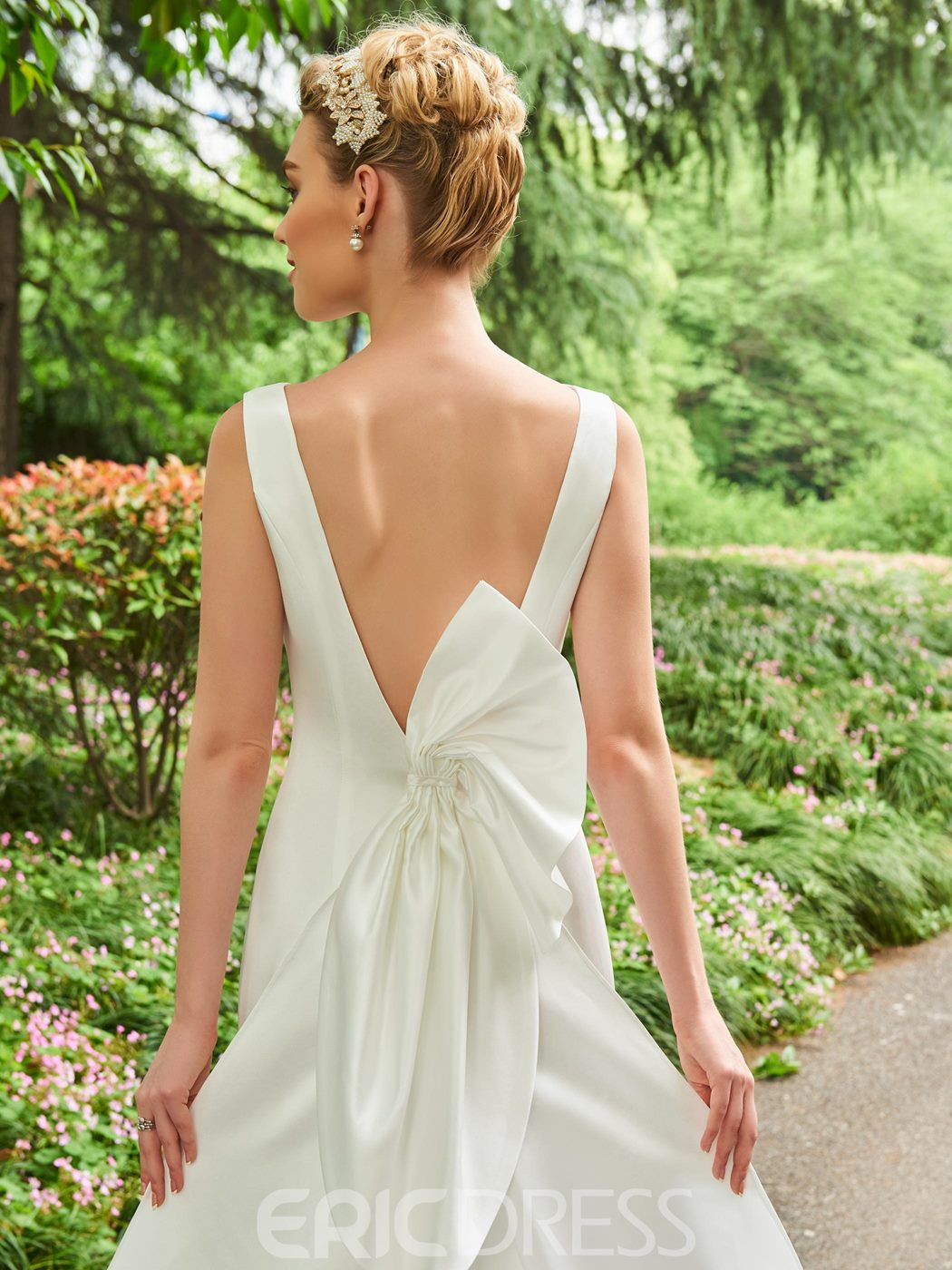 Ericdress Mermaid Backless Matte Satin Wedding Dress