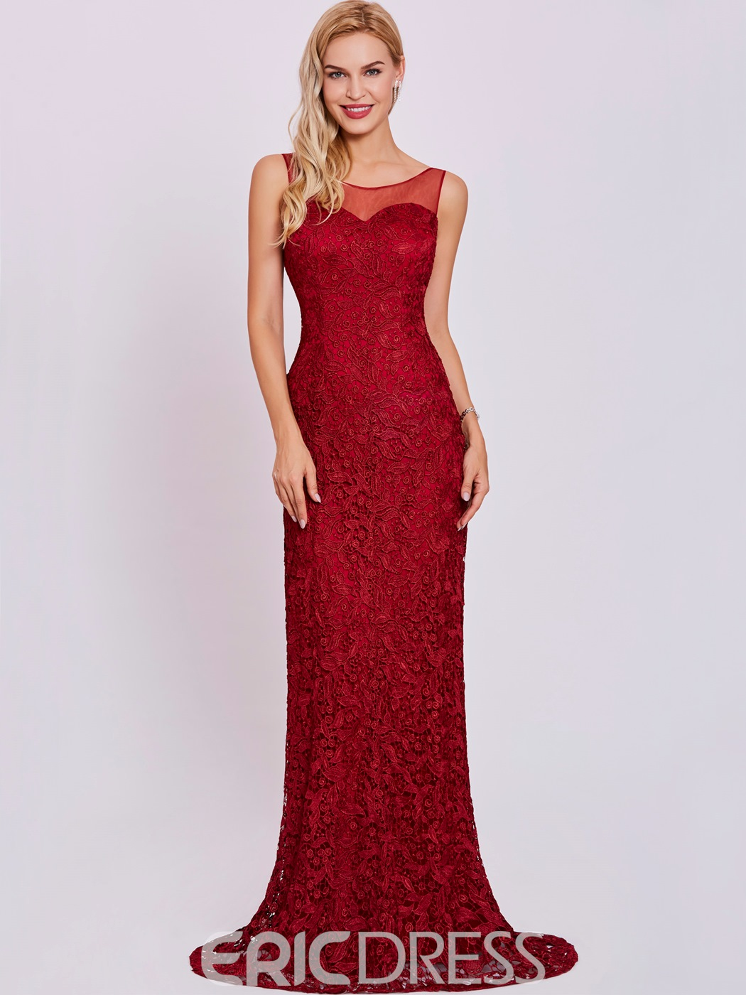 Ericdress Scoop Neck Lace Appliques Mermaid Evening Dress