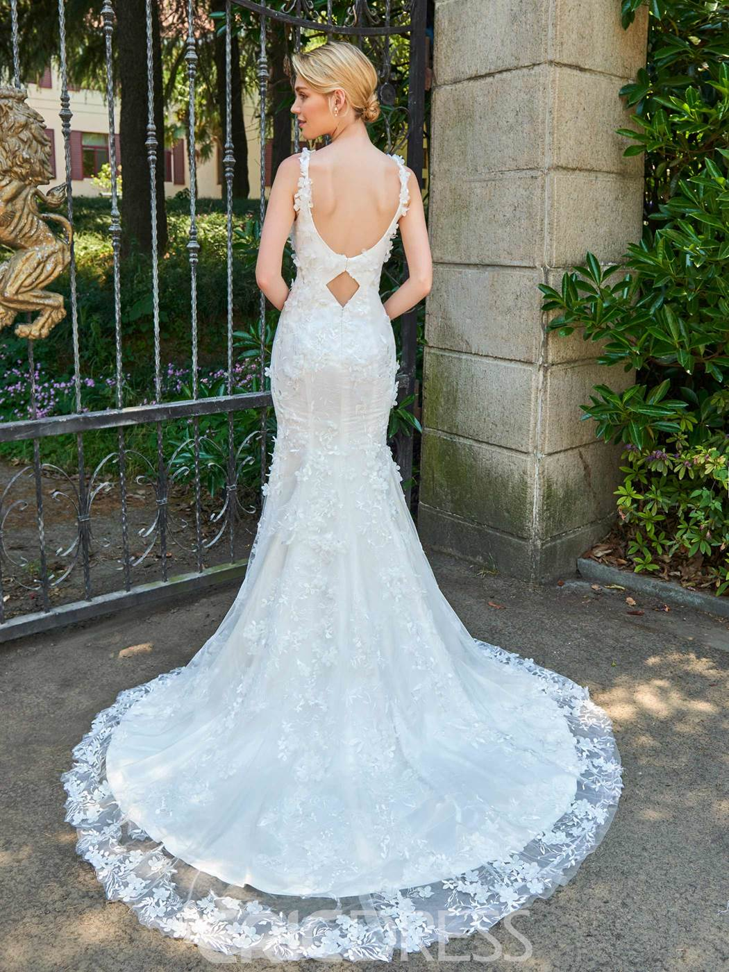 Ericdress Spaghetti Straps Mermaid Lace Court Train Wedding Dress