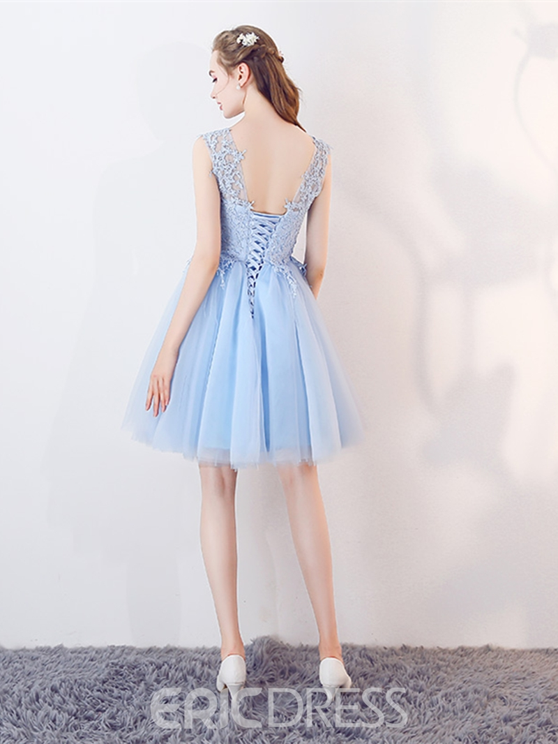 Ericdress A Line Applique Short Homecoming Dress With Lace-Up Back