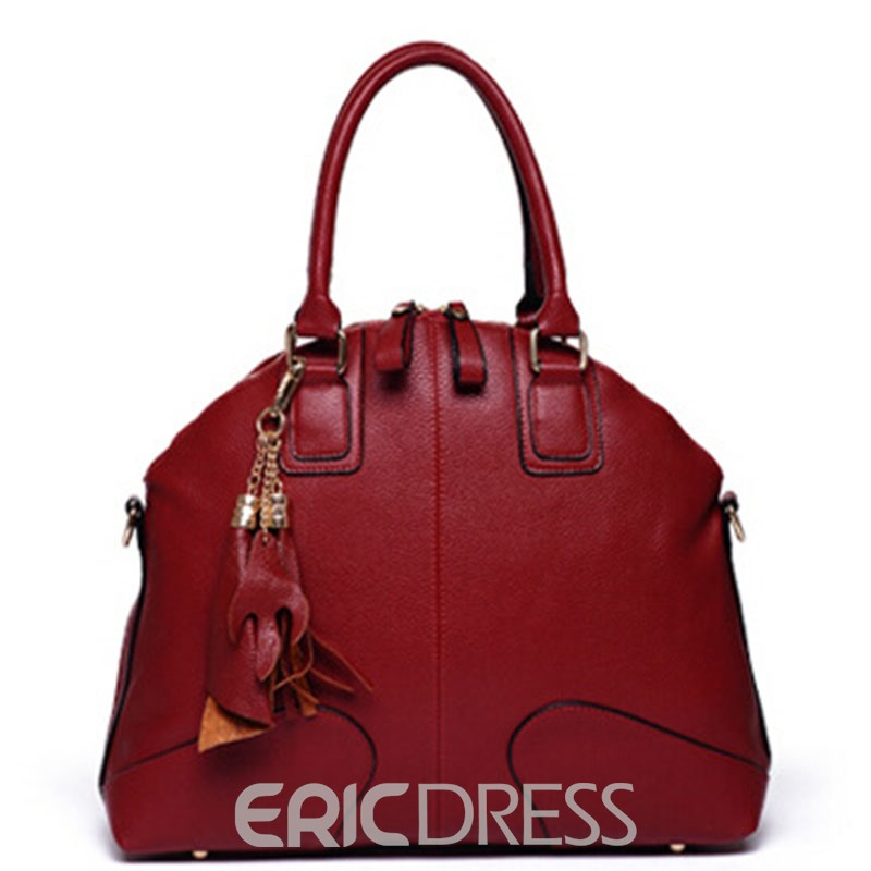 Ericdress Shell Shape Solid Color PU Handbag