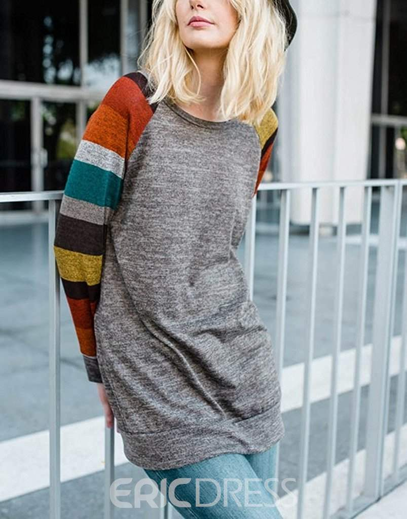 Ericdress Color Block Mid-Length Knitted Fabric T-shirt