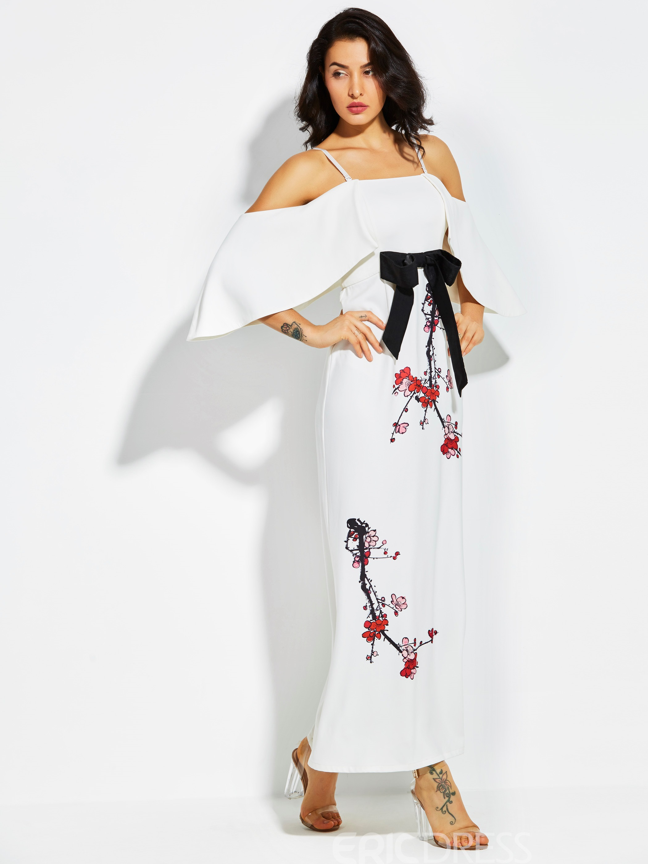 Ericdress Strapless Flower Print Bowknot Maxi Dress