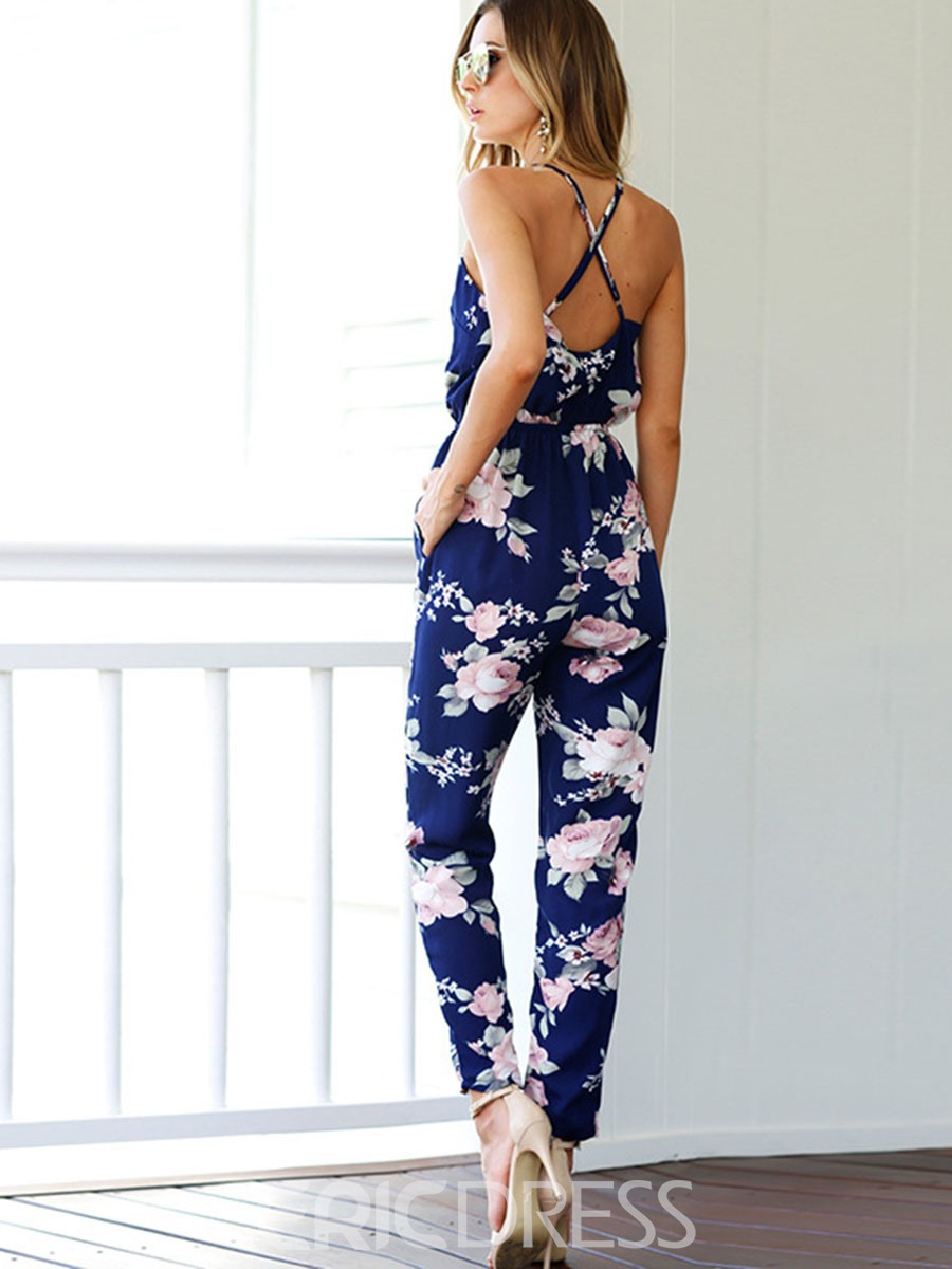 Ericdress Backless Print Lace-Up Jumpsuits Pants