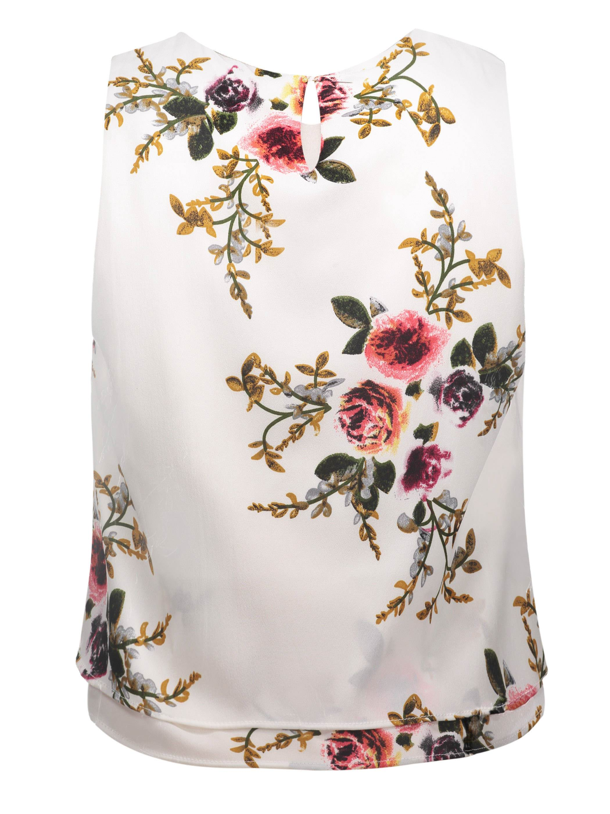 Ericdress Round Neck Flower Print Sleeveless Women's Top