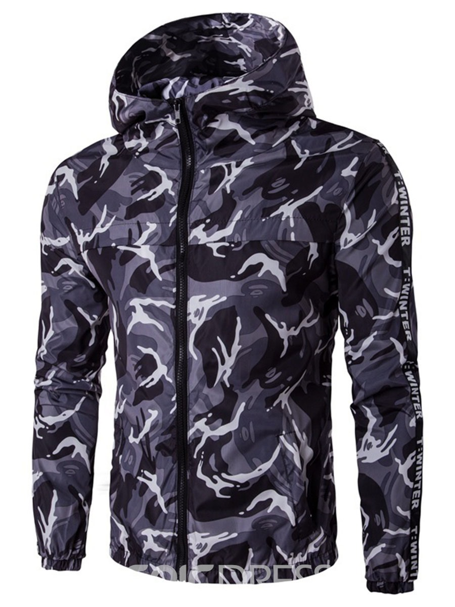 Ericdress Hooded Zipper Camouflage Print Men's Jacket
