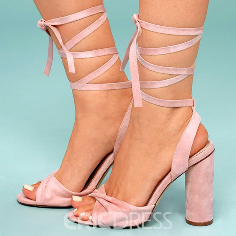 Ankle Strap Lace-Up Chunky Heel Sandals