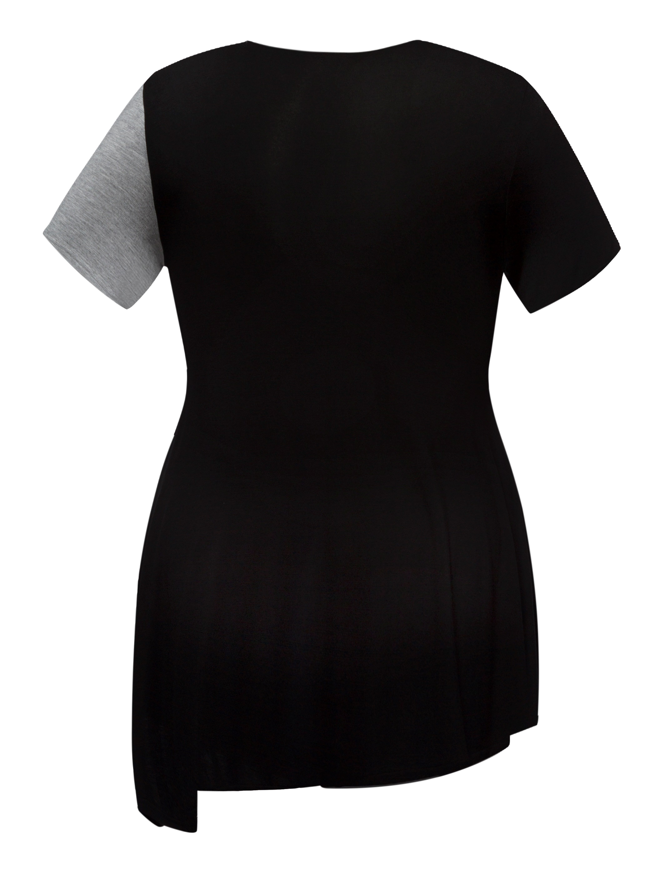 Ericdress V-Neck Asymmetric Patchwork Plus-Size T-shirt