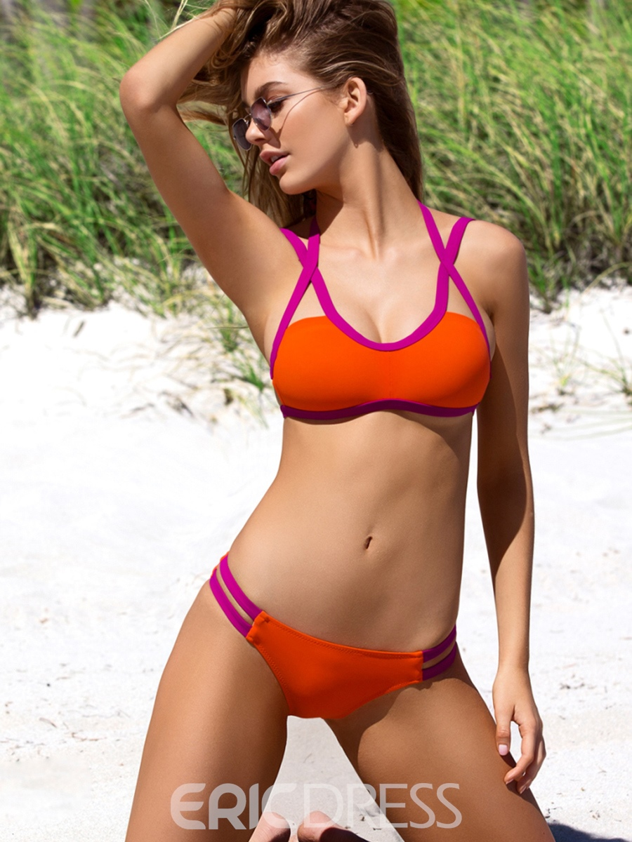 Ericdress Lace-Up Color Block Hollow Bikini Set