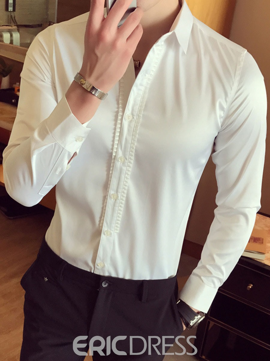 Ericdress Plain Smooth Anti Wrinkle Unique Slim Men's Shirt
