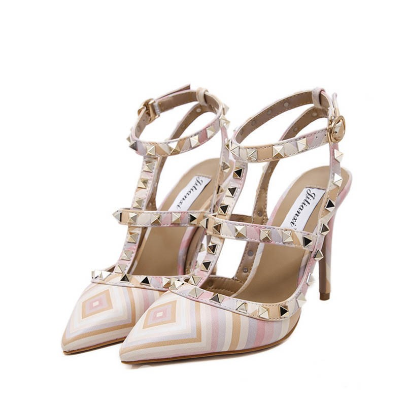 Ericdress Stripe Closed Toe Rivet Stiletto Sandals