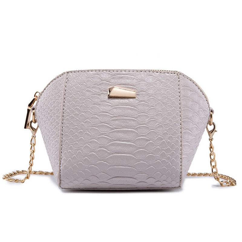 Ericdress Croco-Embossed Chain Shell Crossbody Bag