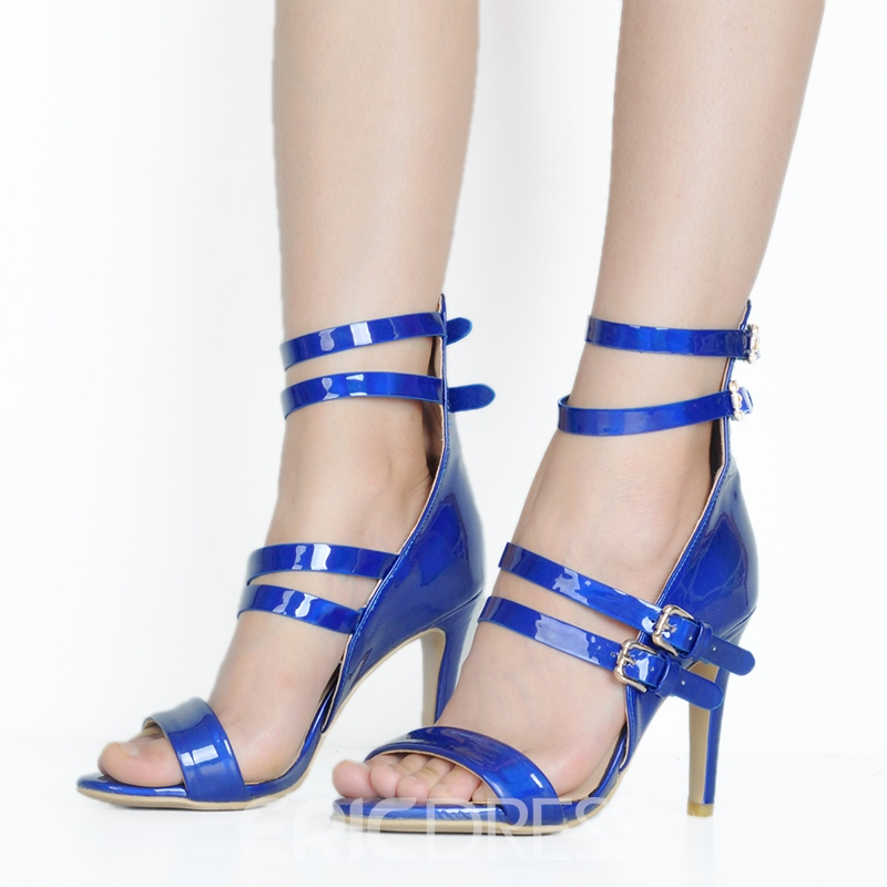 Ericdress Blue Open Toe High-Cut Stiletto Sandals