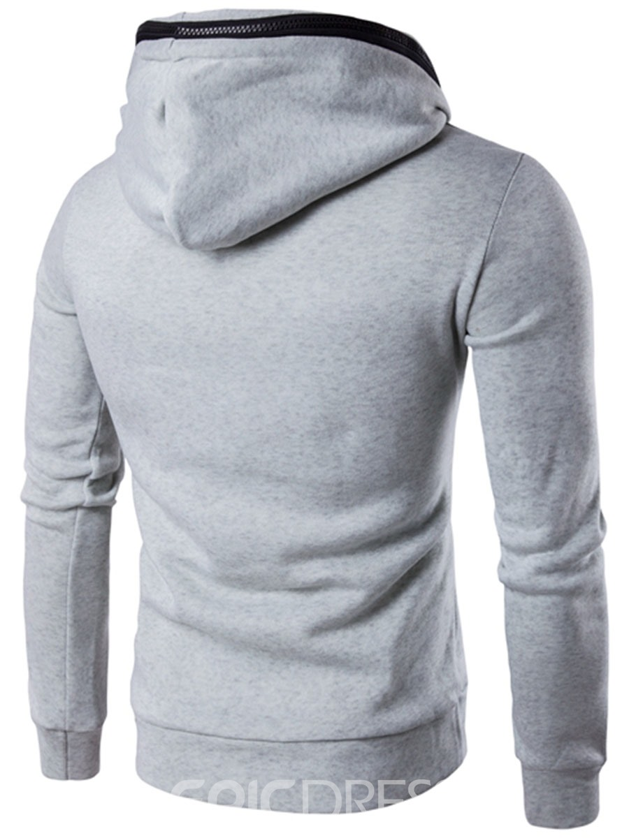 Ericdress Zip Patched Unique Casual Men's Hoodie