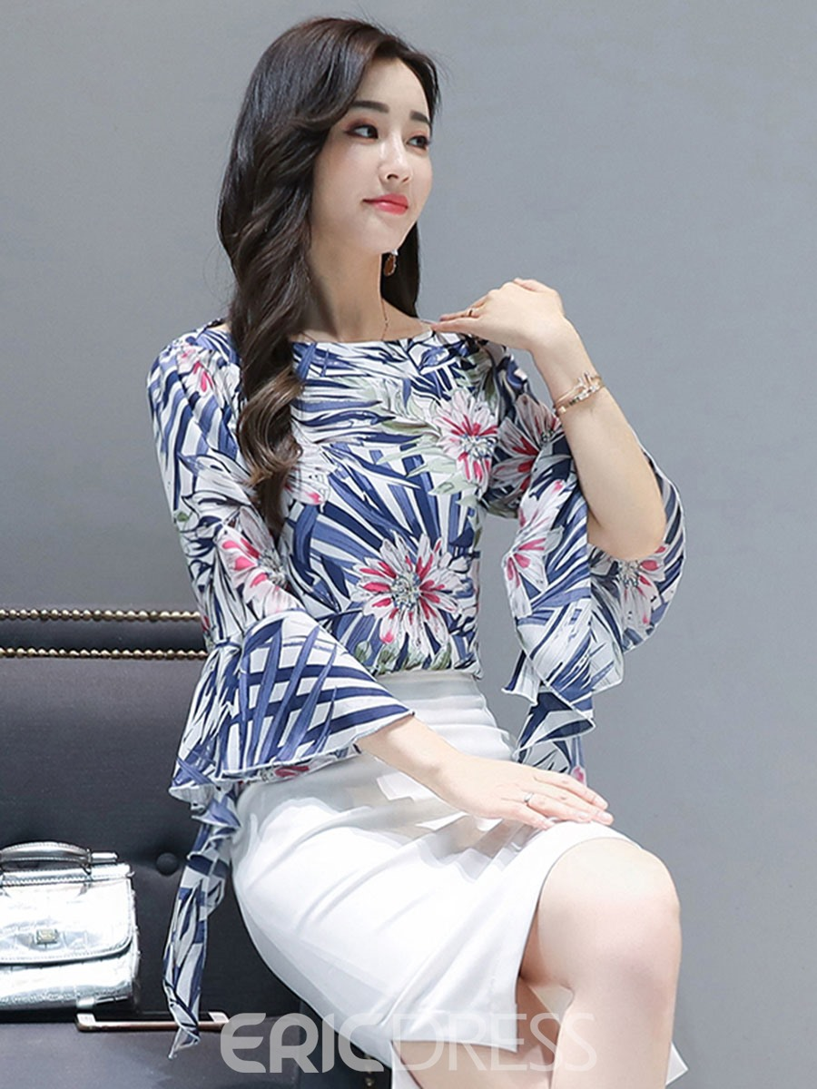 Ericdress Floral Print Bell Sleeve Blouse