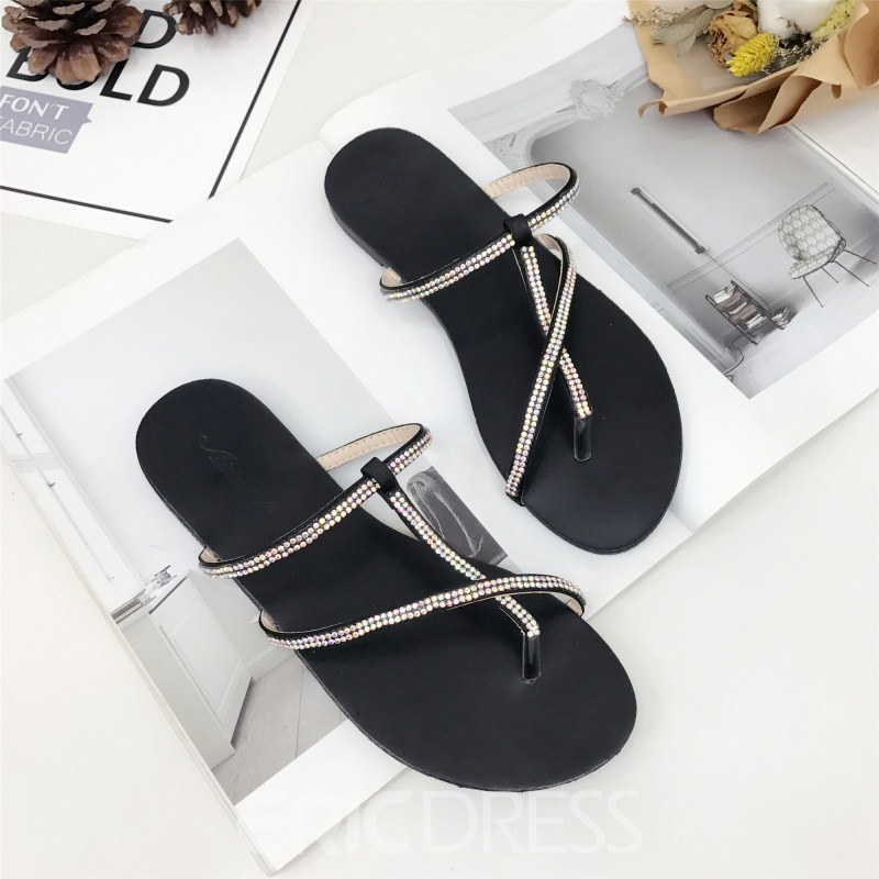 Ericdress Rhinestone Thong Plain Mules Shoes