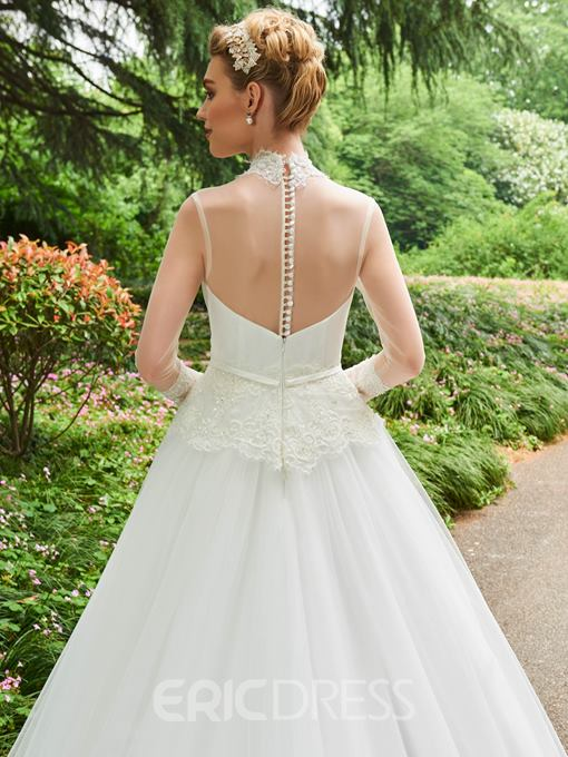 Ericdress High Neck Long Neck A Line Appliques Wedding Dress
