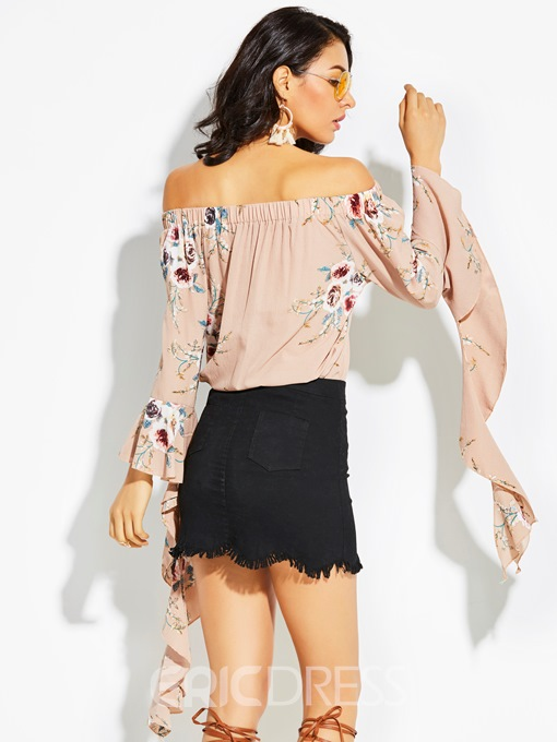 Ericdress Off Shoulder Flower Print Flare Sleeve Women's Blouse