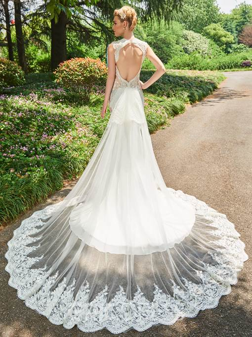 Ericdress Mermaid Appliques Backless Tulle Wedding Dress