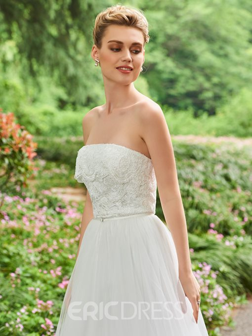 Ericdress Strapless Lace Wedding Jumpsuit with Train