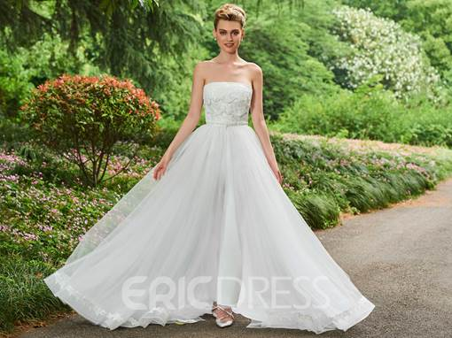 Ericdress Strapless Appliques Tulle Wedding Jumpsuit