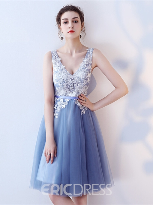 Ericdress A Line V Neck Applique Lace Short Homecoming Dress