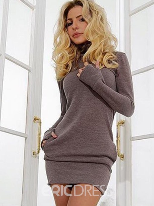 Ericdress Above Knee Long Sleeve Patchwork Pullover Bodycon Dress