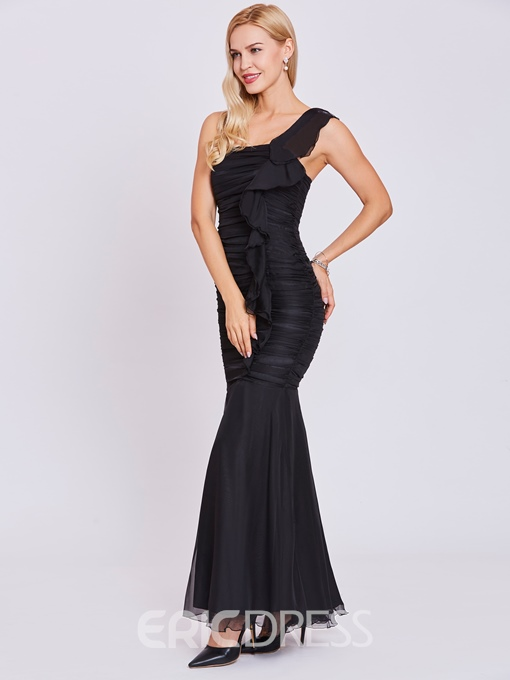 Ericdress One Shoulder Ruffles Sheath Evening Dress