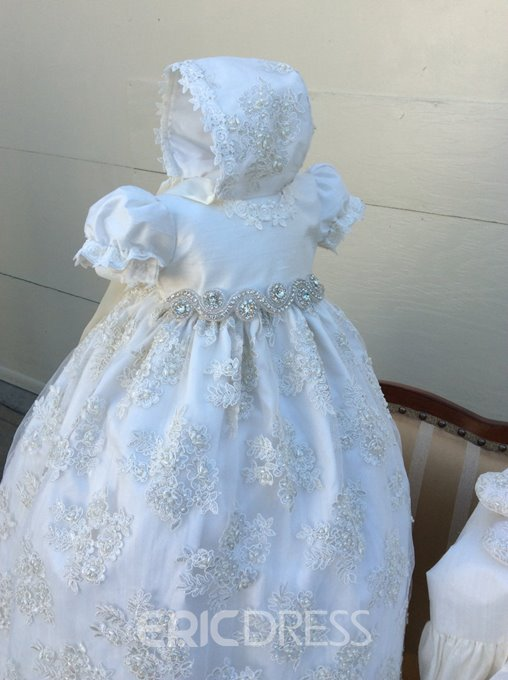 Ericdress Short Sleeves Appliques Baby Girl's Christening Dress