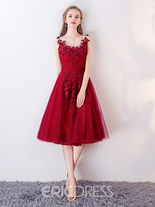 Ericdress Bateau A-Line Appliques Beaded Lace Tea-Length Homecoming Dress