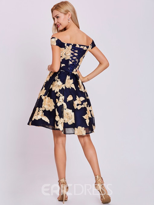Ericdress Off-the-Shoulder Lace-Up Appliques Homecoming Dress