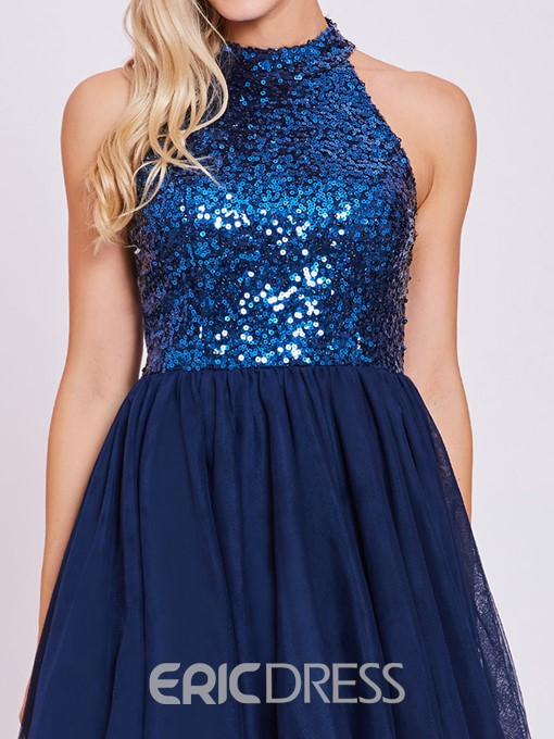 Ericdress Halter Neck Backless Sequins Homecoming Dress