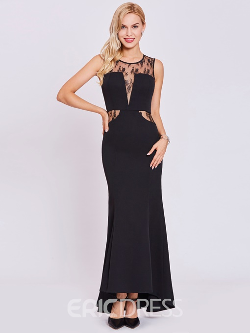 Ericdress Scoop Neck Lace Mermaid Evening Dress