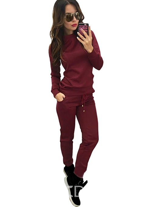 Ericdress Plain Sports Straight Lace-Up Hoodie and Pants Two Piece Sets