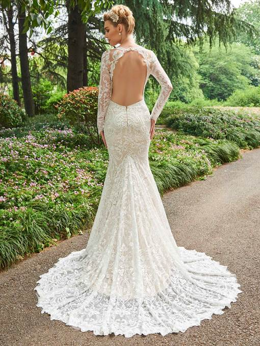 Ericdress Mermaid Lace Long Sleeves Backless Wedding Dress