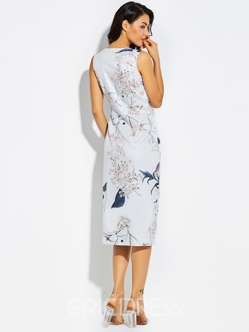 Ericdress V-Neck Flower Print Asymmetrical Sheath Dress