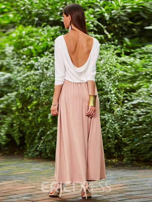 Ericdress Color Block Patchwok Backless Maxi Dress