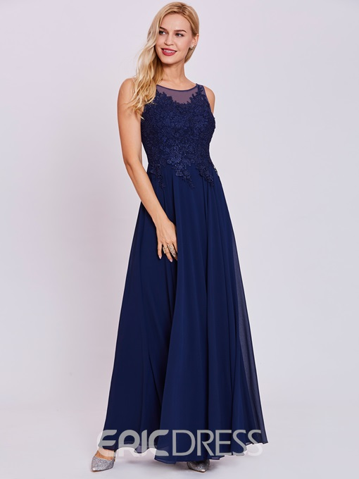 Ericdress Scoop Neck Lace Appliques A Line Long Evening Dress
