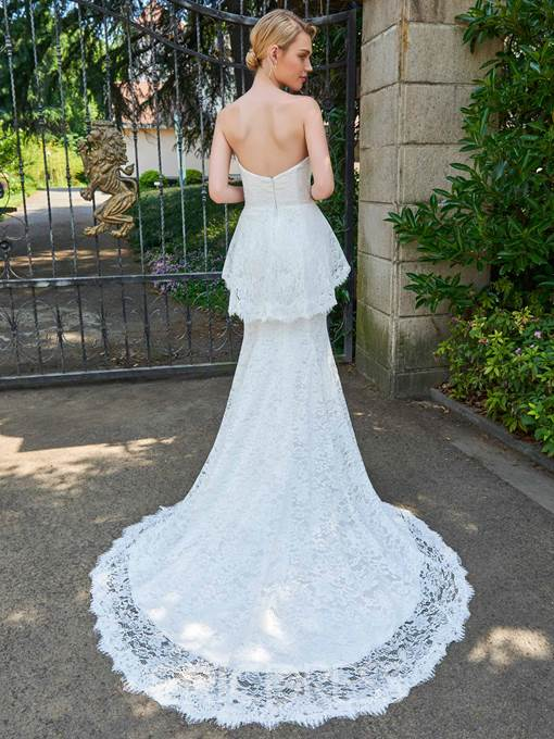 Ericdress Strapless Mermaid Lace Court Train Wedding Dress