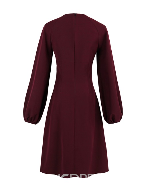 Ericdress Lantern Sleeve Solid A Line Dress