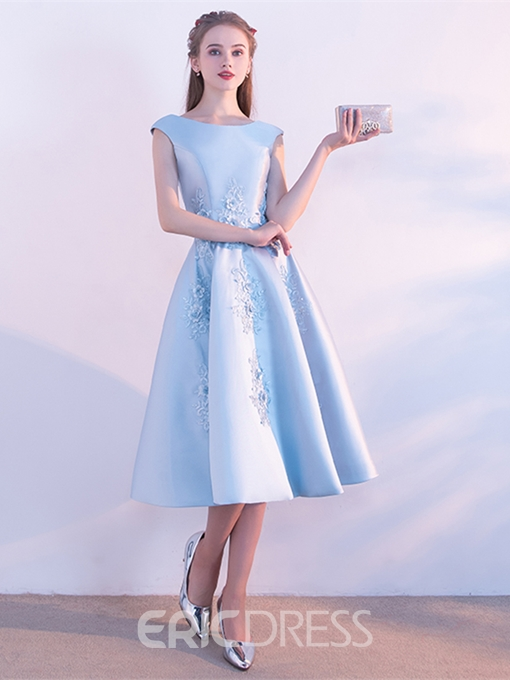 Ericdress A Line Cap Sleeve Applique Tea Length Homecoming Dress