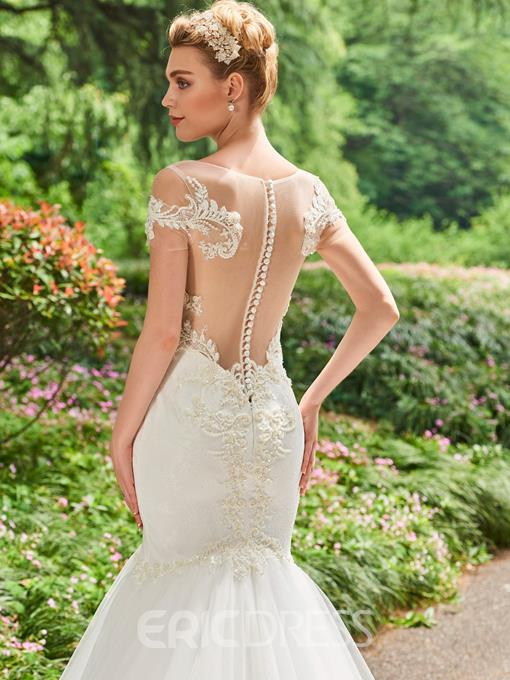 Ericdress Short Sleeves Beaded Lace Mermaid Wedding Dress