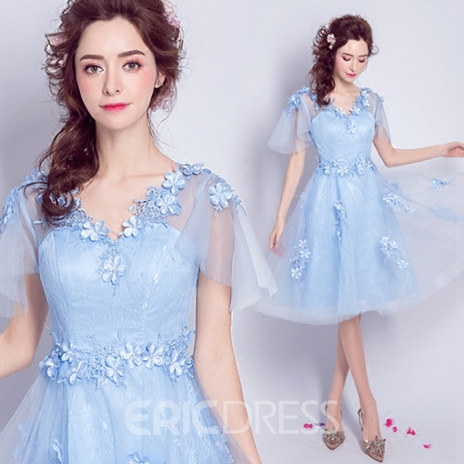 Ericdress A Line V Neck Short Sleeve Applique Knee Length Homecoming Dress