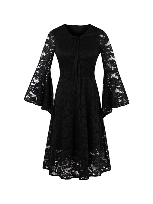 Ericdress Lace Holow Flare Sleeve A Line Little Black Dress
