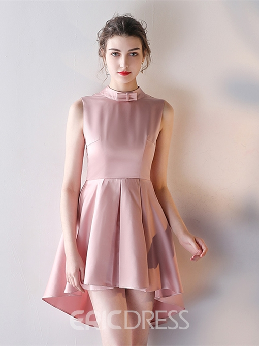 Ericdress A Line High Neck Asymmetry Homecoming Dress With Bowknot Back