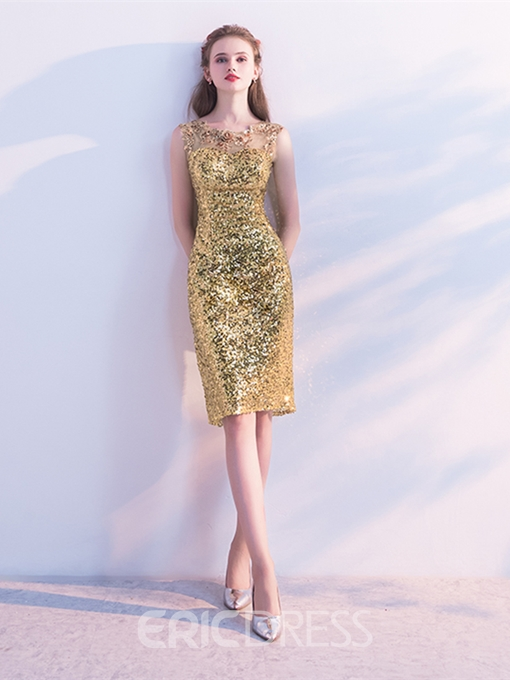 Ericdress Sheath Sleeveless Sequin Knee Length Homecoming Dress